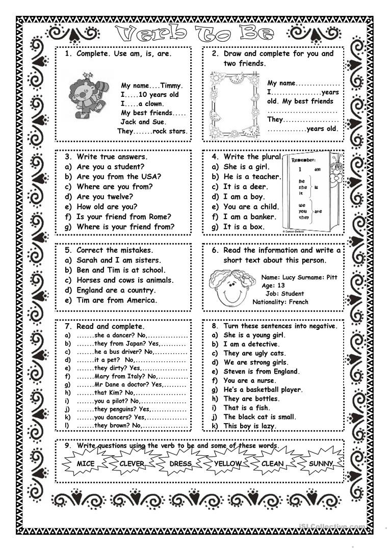 Verbs Worksheets First Grade Verb to Practice English Esl Worksheets for Distance