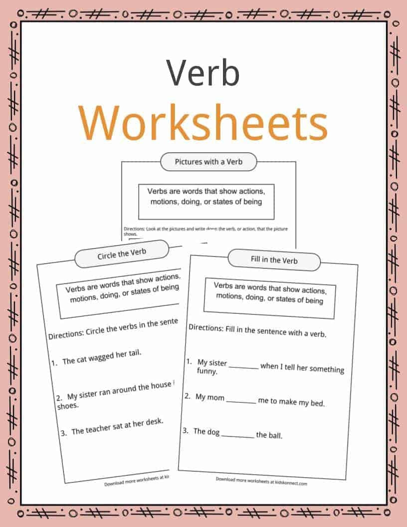 Verbs Worksheets First Grade Verbs Definition Worksheets & Examples In Text for Kids