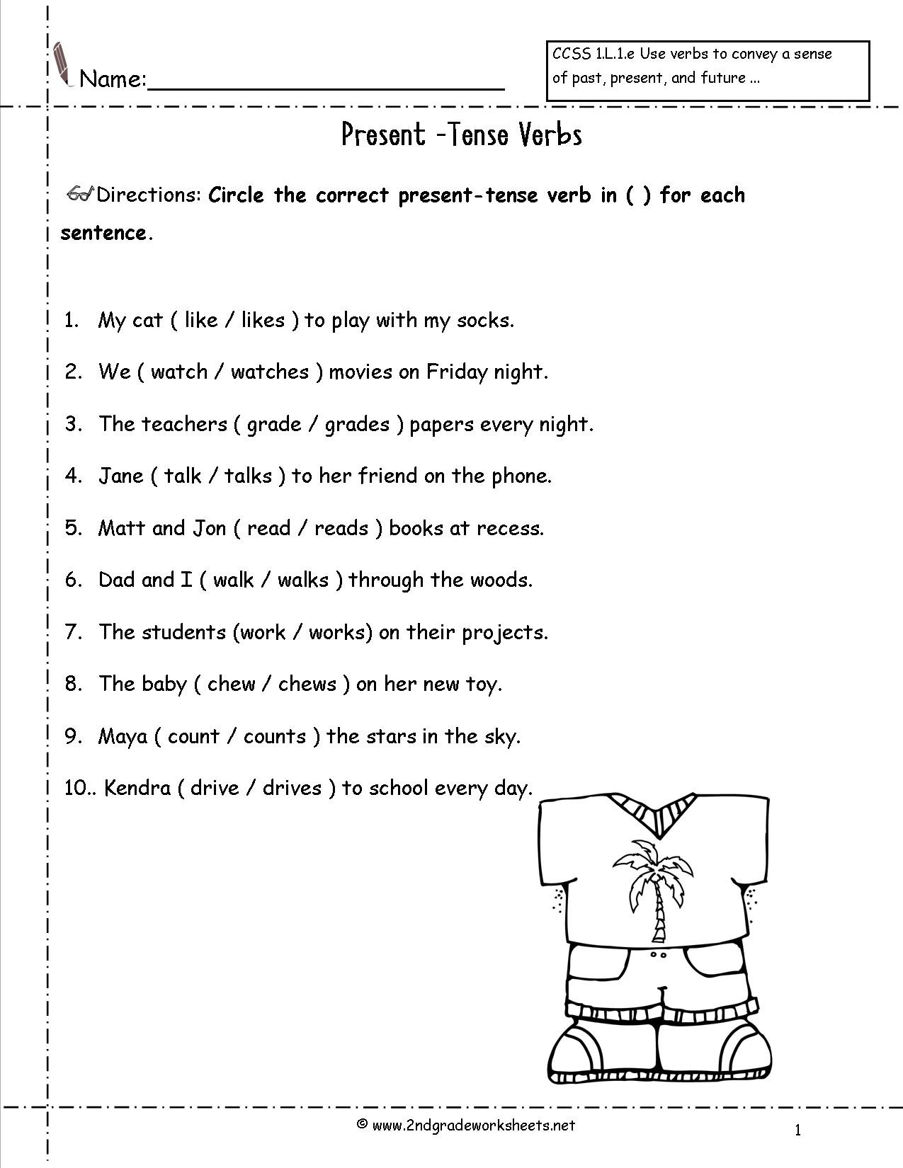 Verbs Worksheets for 1st Grade Verb Tenses Cut and Paste Worksheet