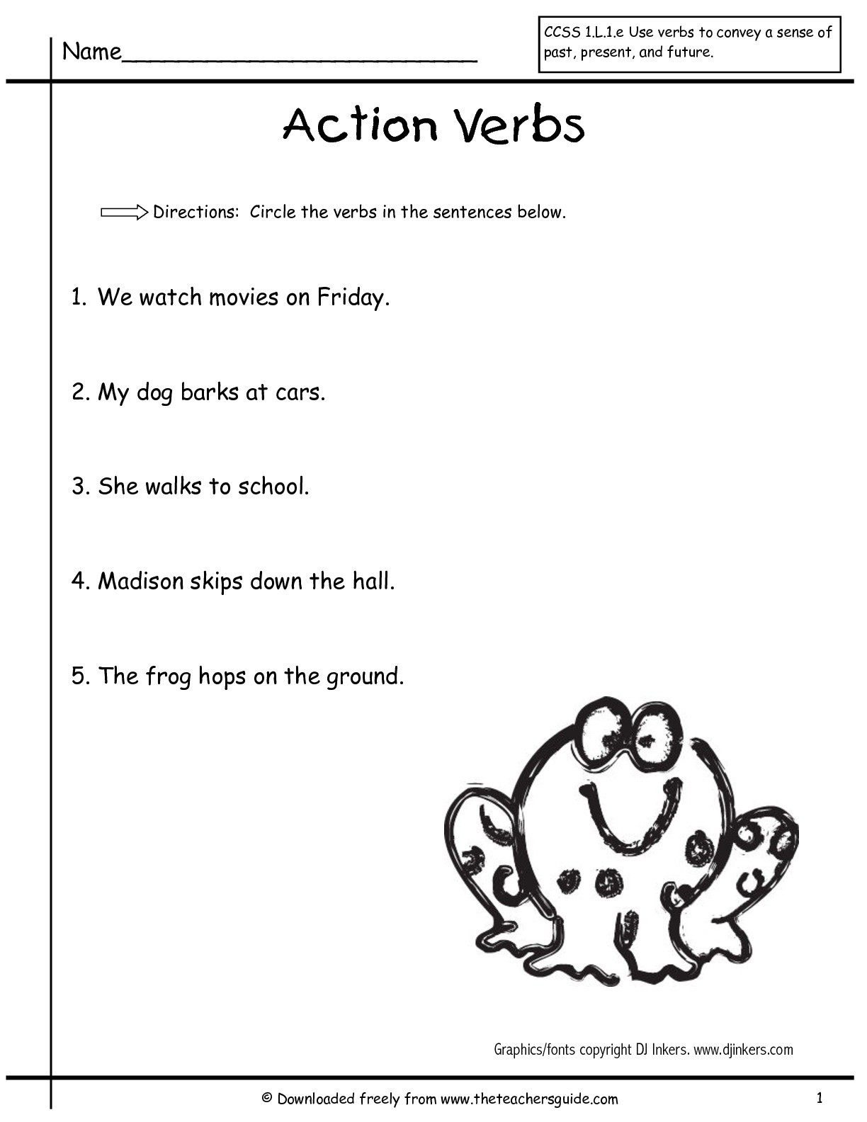 Verbs Worksheets for 1st Grade Wonders First Grade Unit Three Week E Printouts