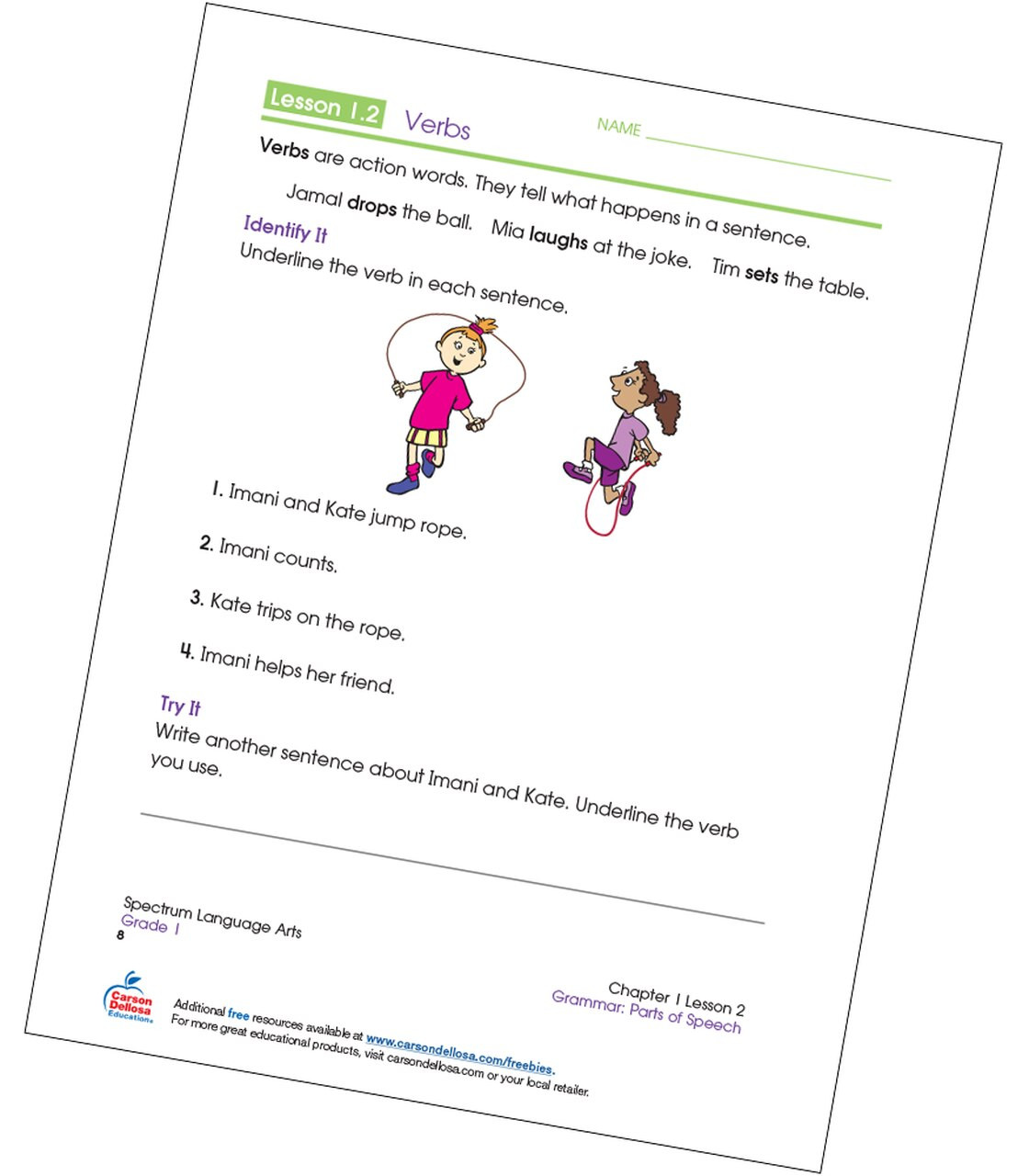 Verbs Worksheets for Middle School Identifying Verbs Grade 1 Free Printable