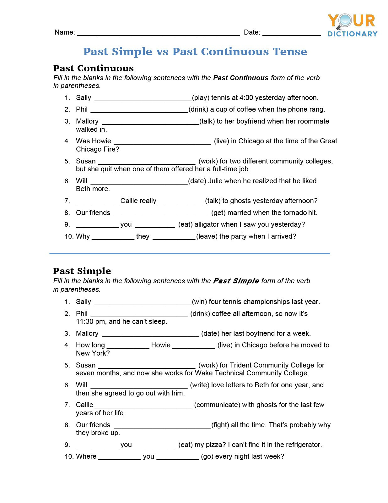 Verbs Worksheets for Middle School Irregular Verb Worksheets