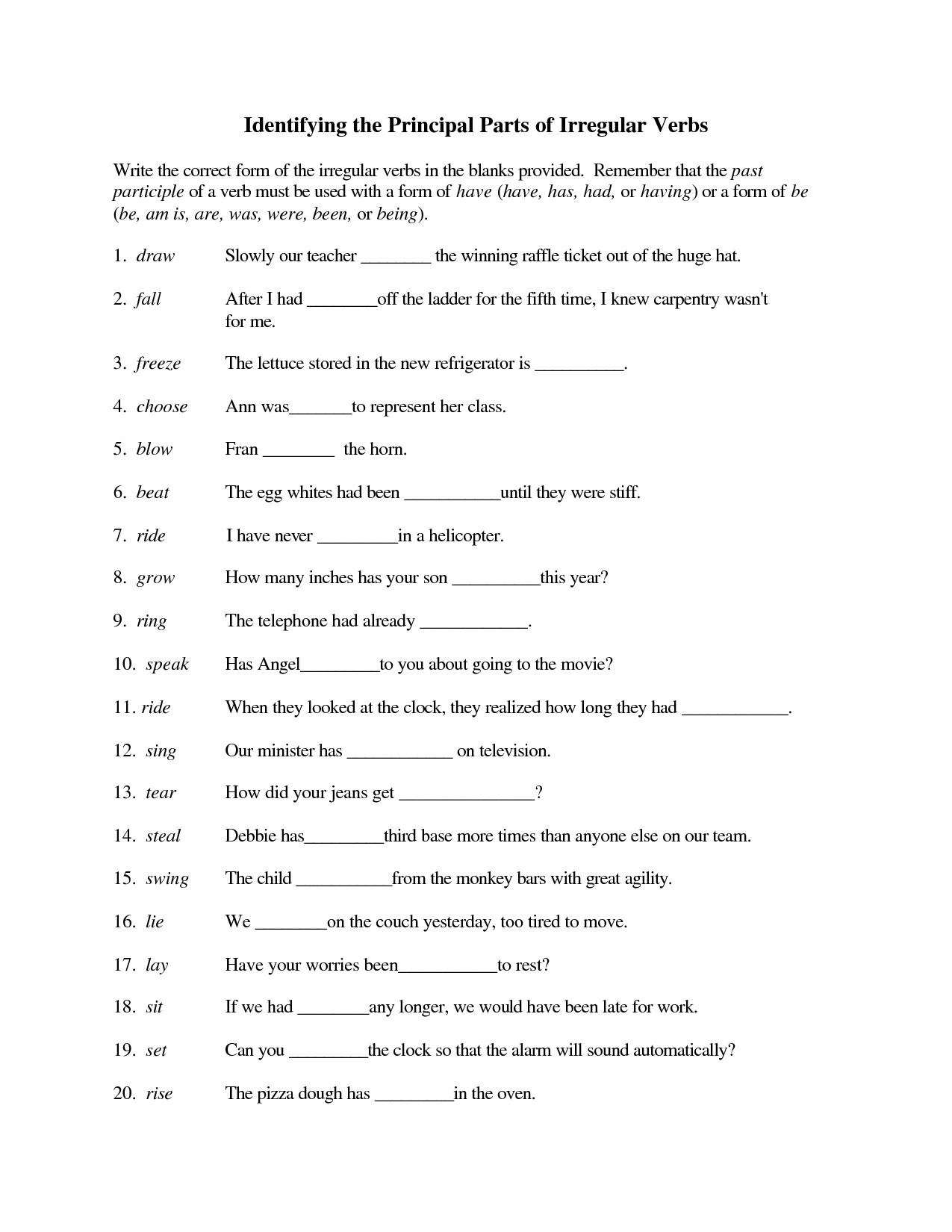 Verbs Worksheets for Middle School Irregular Verbs 3rd Grade Worksheet