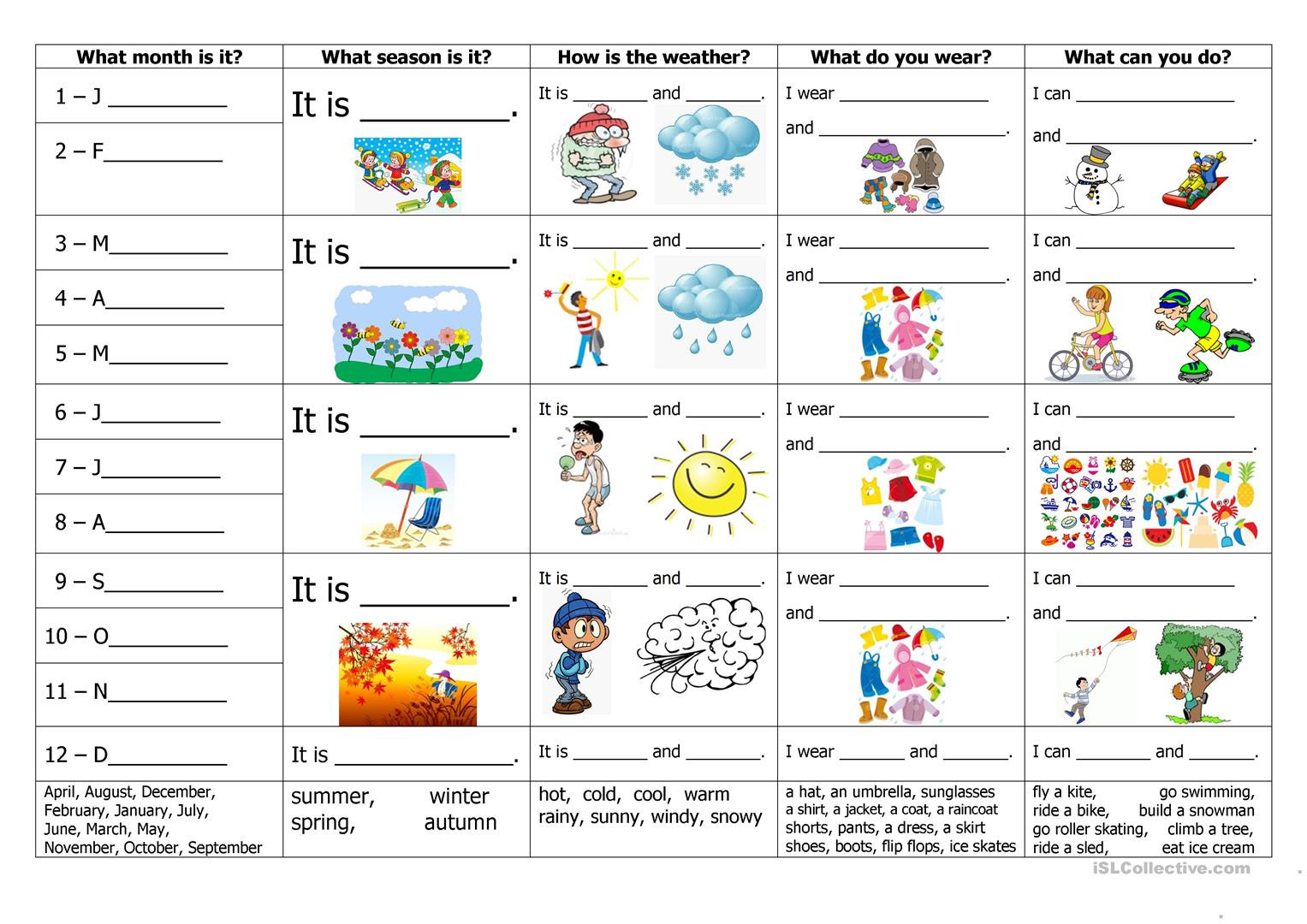Weather Worksheets for 2nd Graders Months Seasons Weather Clothes and Activities English Esl