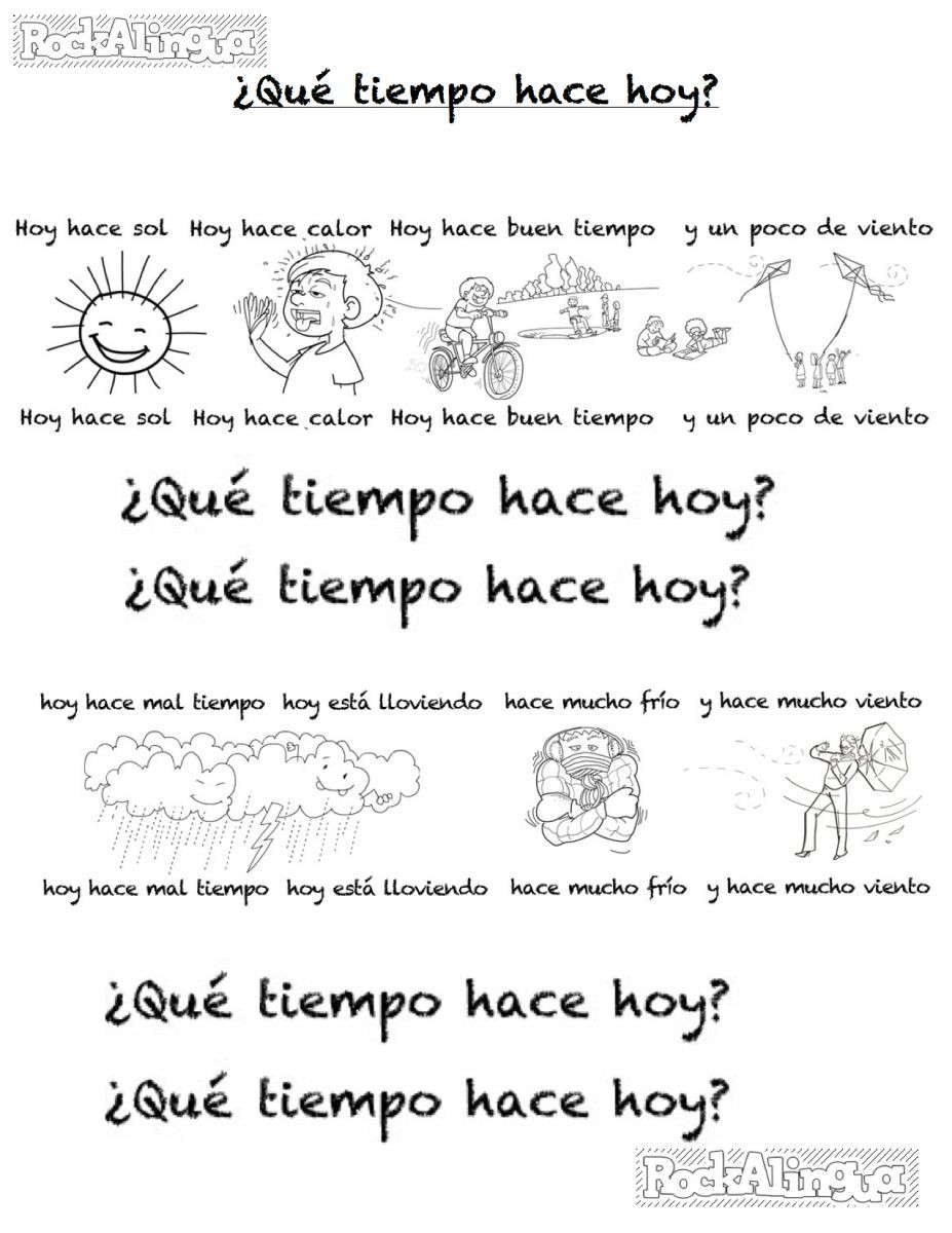 Weather Worksheets for 2nd Graders Spanish Weather song for Kids Easy Level Rockalingua