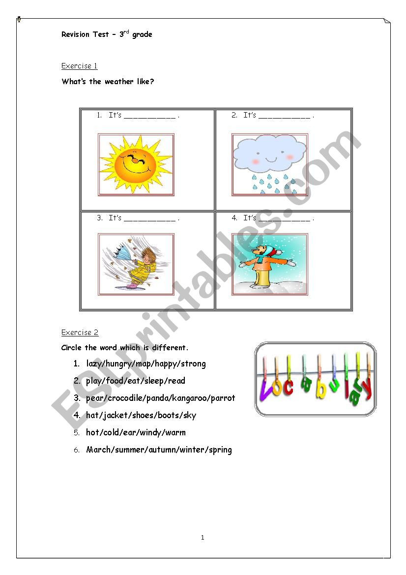 Weather Worksheets for 3rd Grade Revision Test 3rd Grade Vocabulary and Municative Skills
