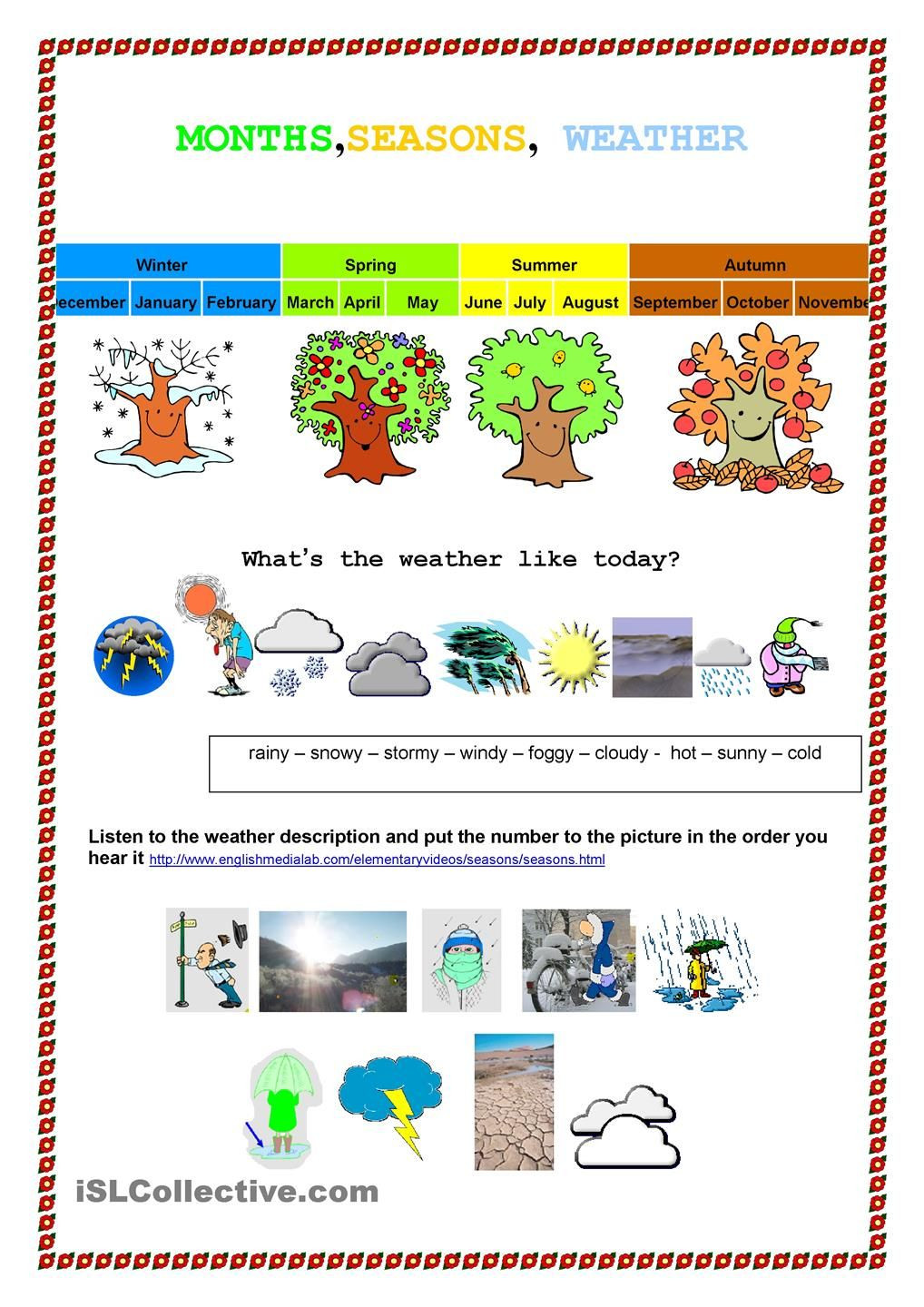 Weather Worksheets for First Graders Month Seasons Weather