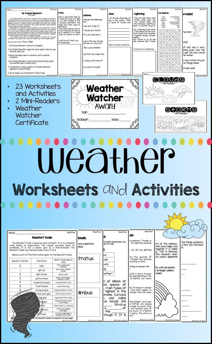 Weather Worksheets for First Graders Weather Worksheets and Activities 23 Worksheets