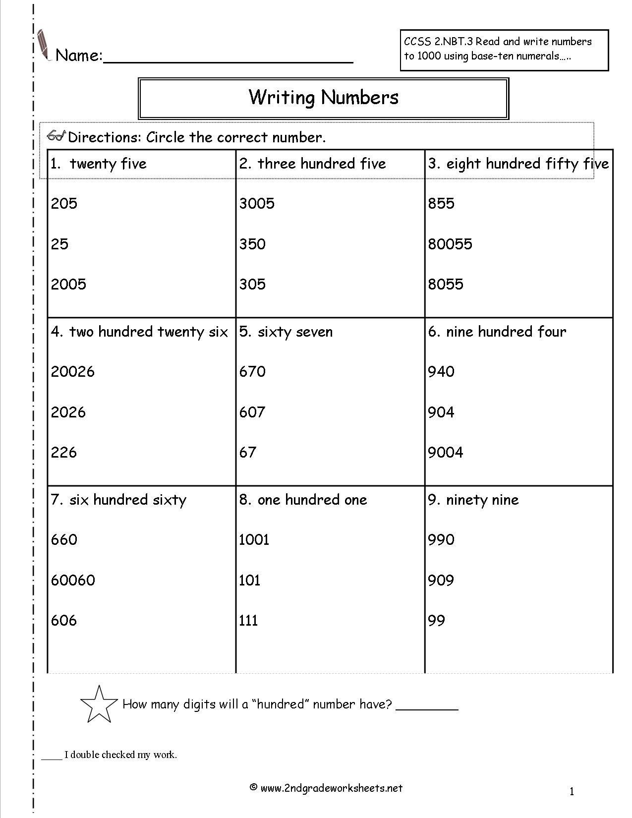 Word form Worksheets 4th Grade Reading Numbers to 1000 Worksheet