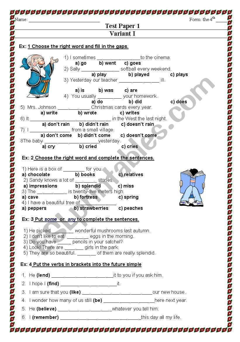 Word form Worksheets 4th Grade Test for the 4th Grade Esl Worksheet by Svetlowly1