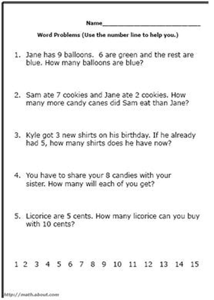 Word Problem Worksheets 1st Grade Word Problem Worksheets for First Grade Math