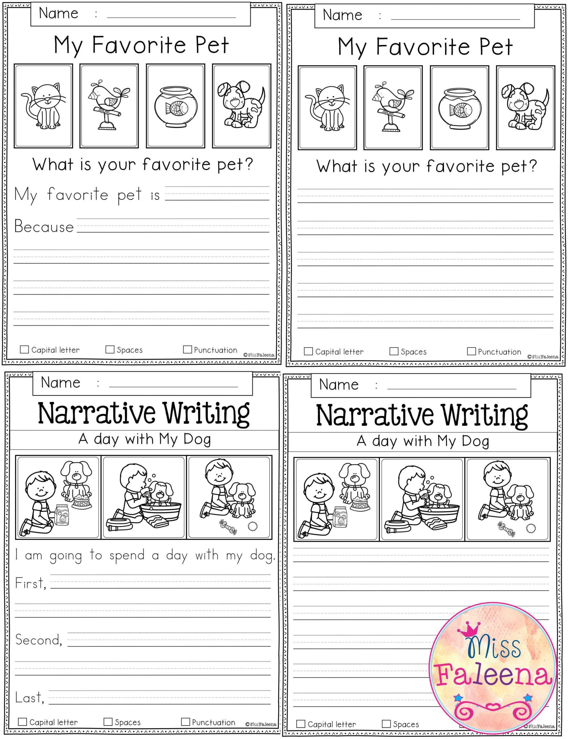 Writing Sheets for 1st Graders Free Writing Prompts