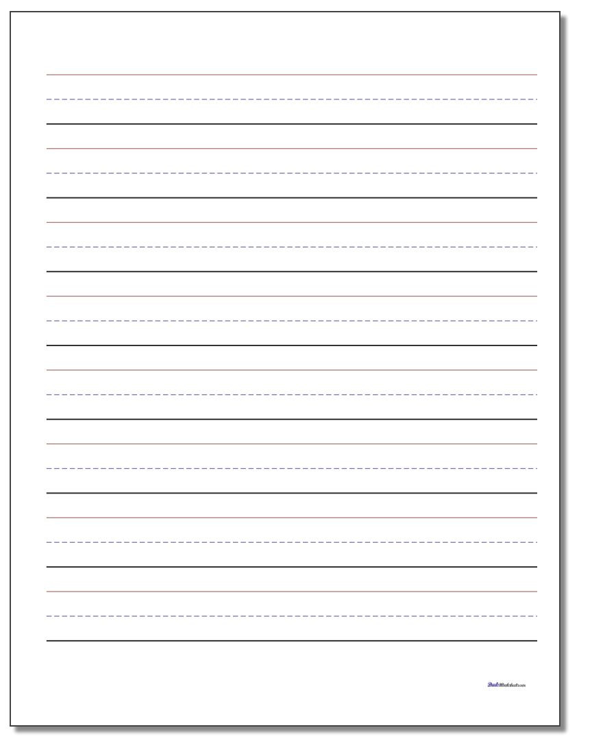 Writing Sheets for 1st Graders Printable Handwriting Paper
