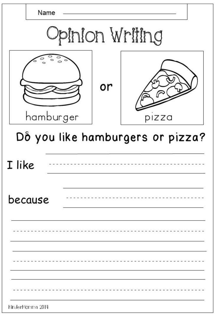 Free Opinion Writing Worksheet
