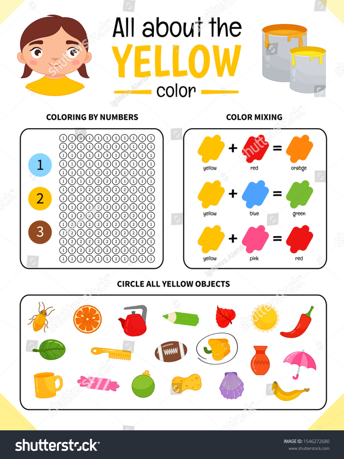 Yellow Worksheets for Preschool Kids Learning Material Worksheet Learning Colors Stock