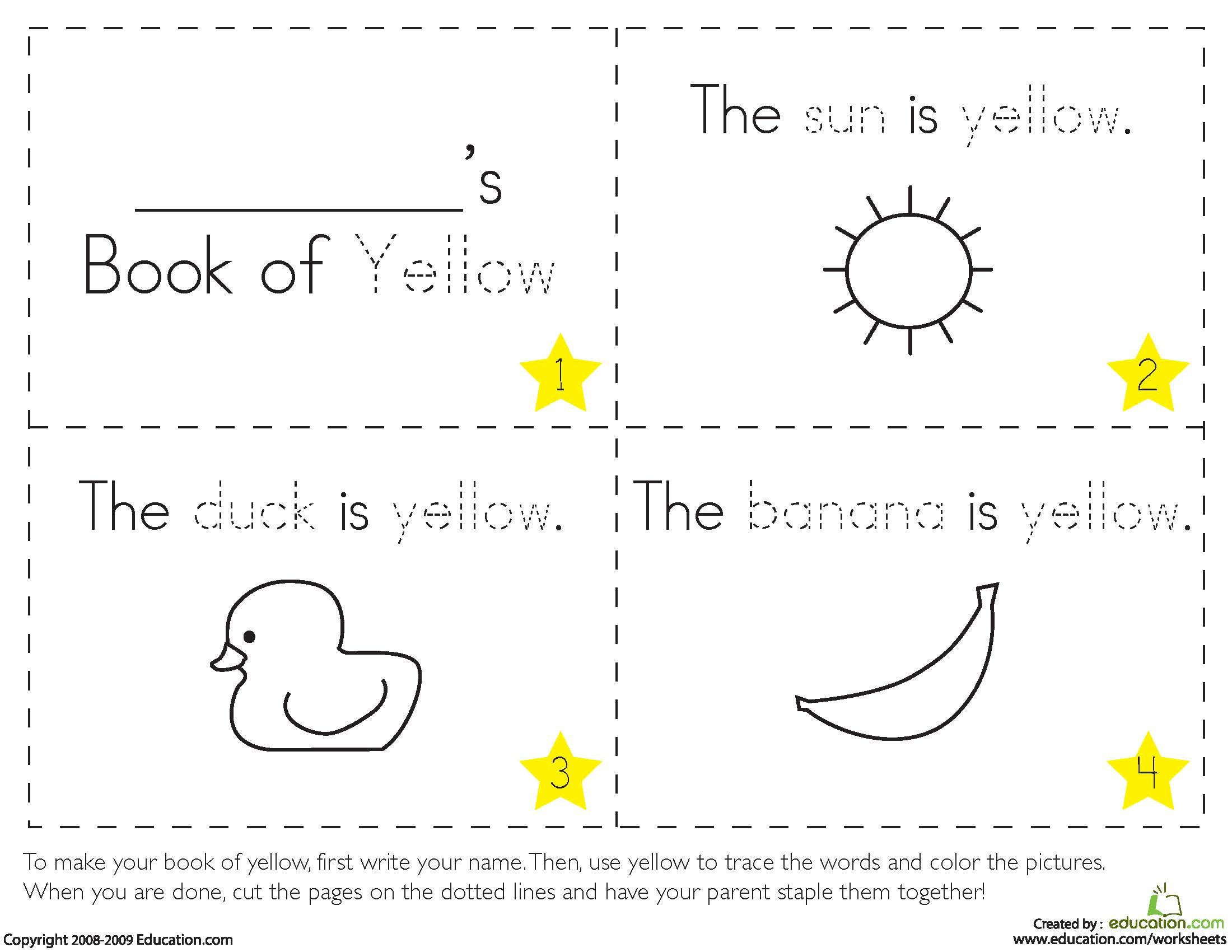 Yellow Worksheets for Preschool Teaching Colors Yellow
