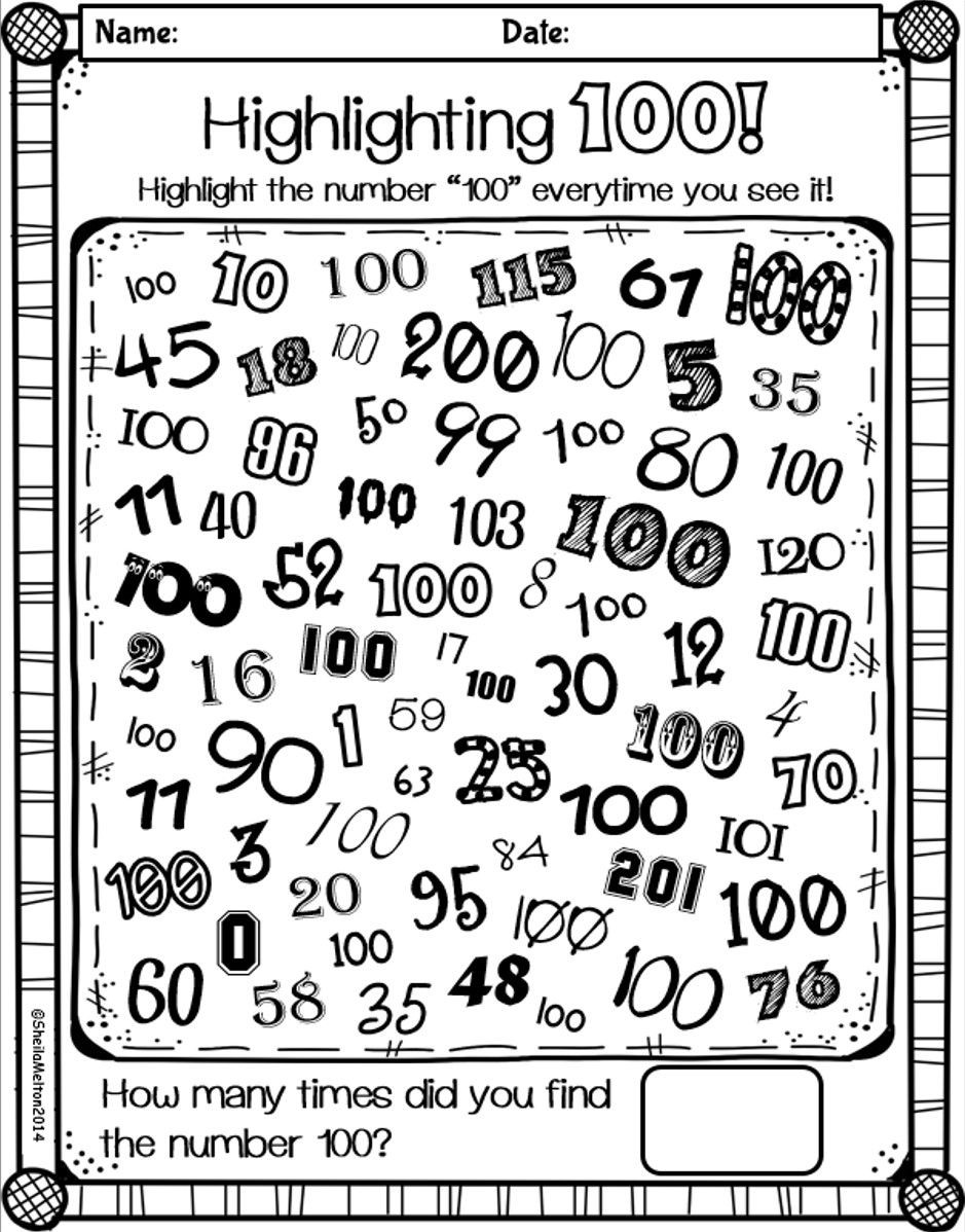100 Days Of School Worksheet 100th Day Of School
