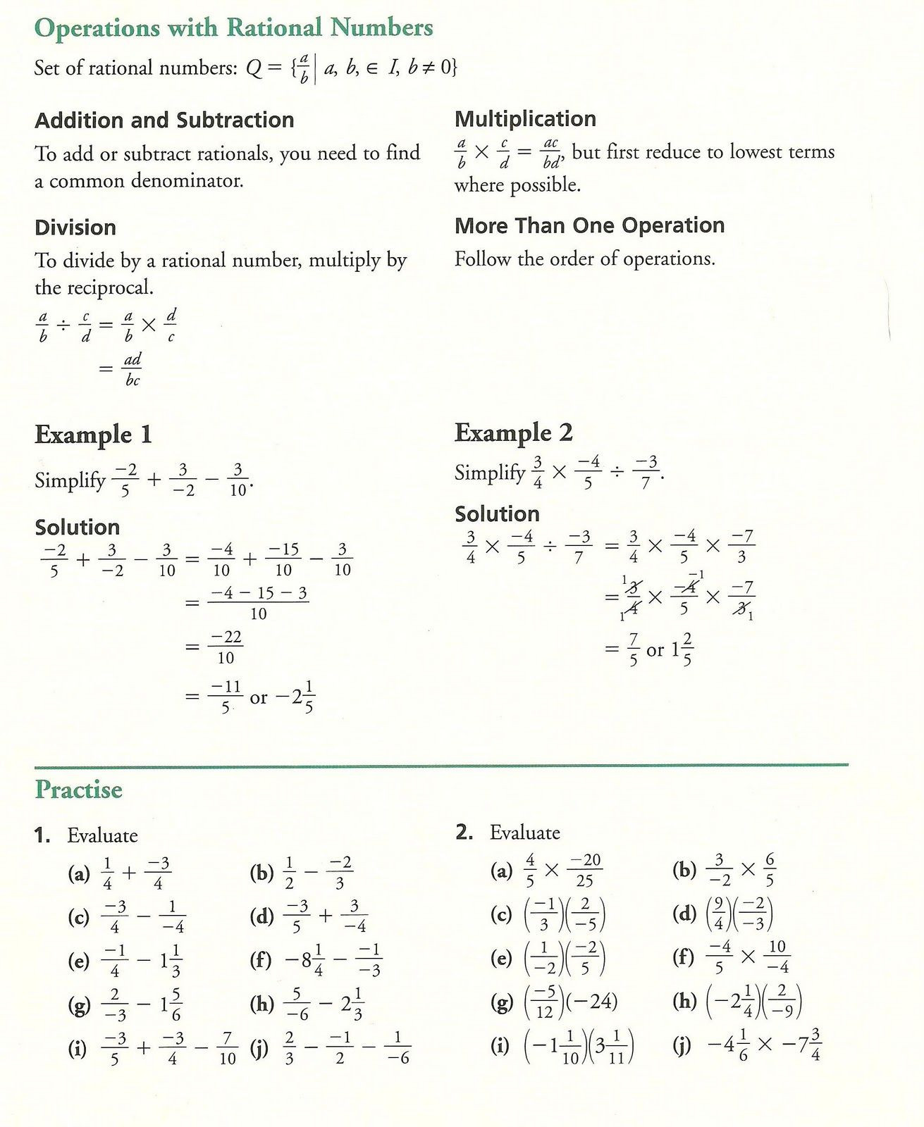 10th Grade Math Worksheets Grade 10 Academic Math Fractions Practice