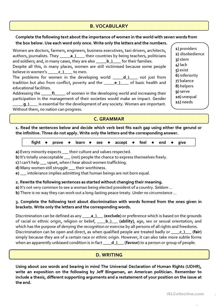 12th Grade English Worksheets Human Rights B2 C1test 12th Grade Worksheet Free Esl