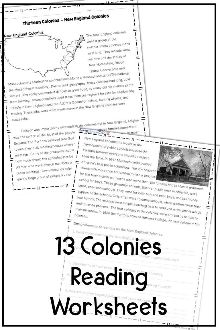 13 Colonies Reading Comprehension Worksheet 13 Colonies New England Middle and southern Nonfiction