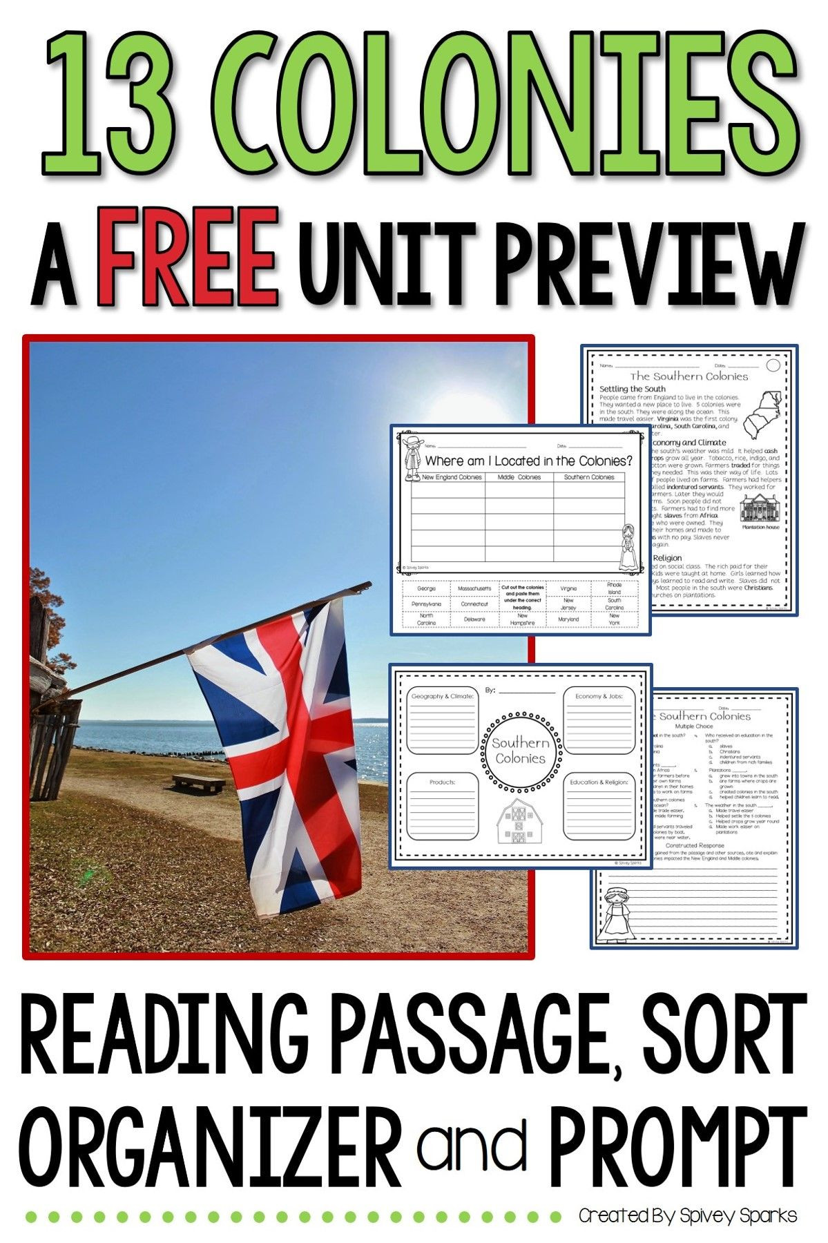 13 Colonies Reading Comprehension Worksheet 13 Colonies Unit Preview Free
