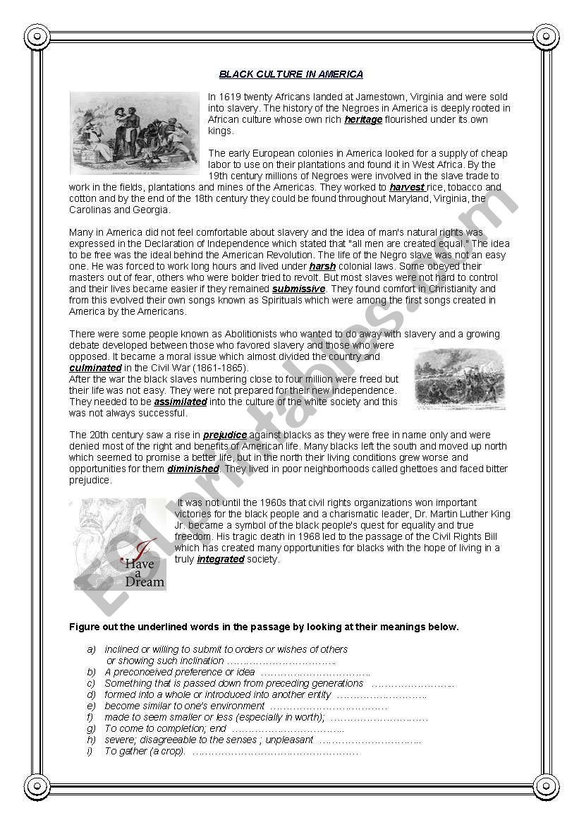 13 Colonies Reading Comprehension Worksheet Black Culture In America Reading Prehension 1 Esl