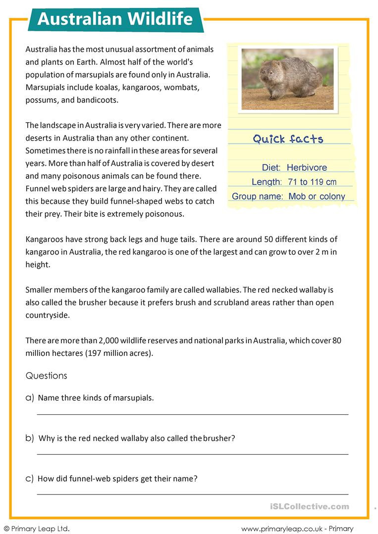 13 Colonies Reading Comprehension Worksheet Reading Prehension Australian Wildlife English Esl