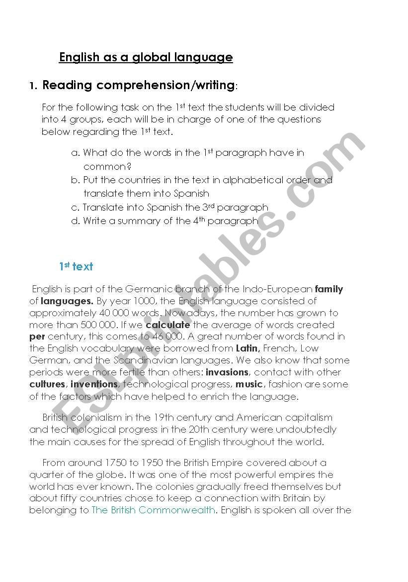13 Colonies Reading Comprehension Worksheet Reading Prehension English as A Global Language Esl