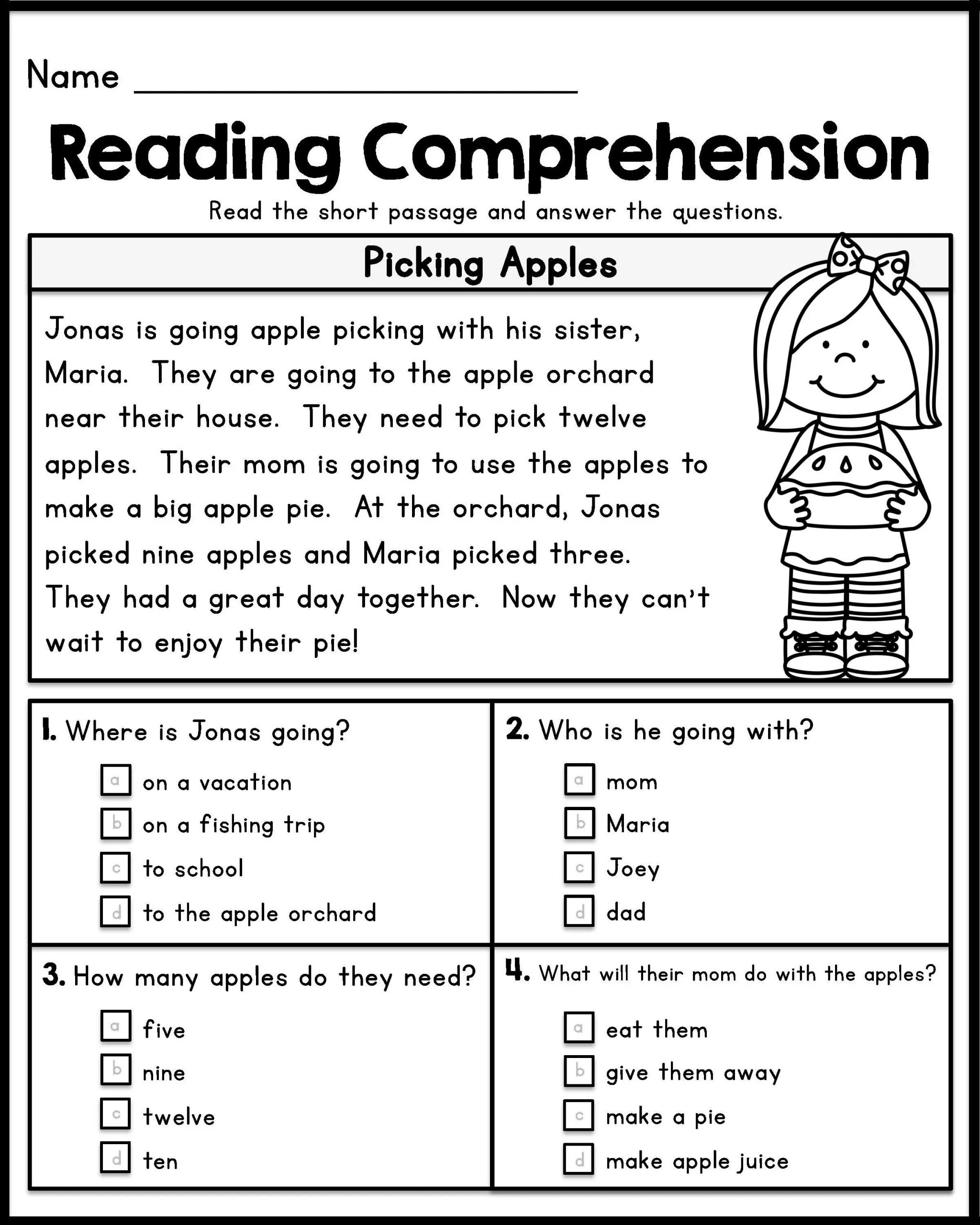 1st Grade Comprehension Worksheets 12 Good Examples 1st Grade Worksheets Free Download