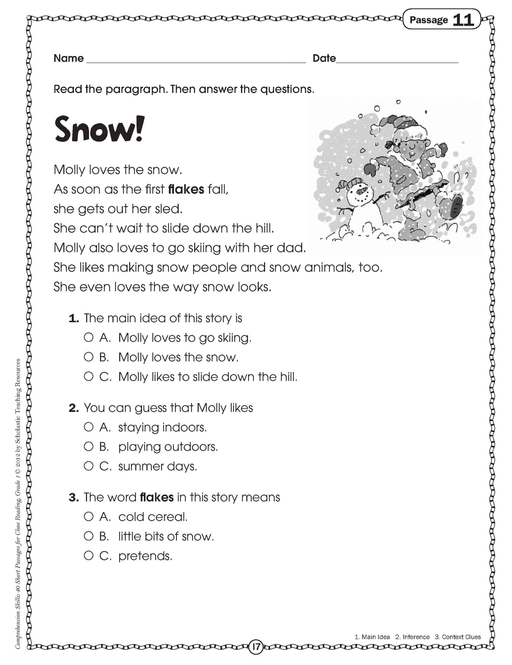 1st Grade Comprehension Worksheets Free Reading Prehension Worksheet Grade 2