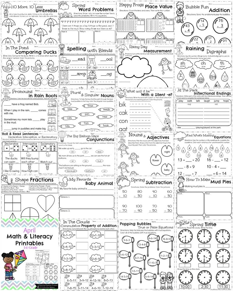 1st Grade Morning Work Worksheets First Grade Worksheets for Spring Planning Playtime Fun 1st
