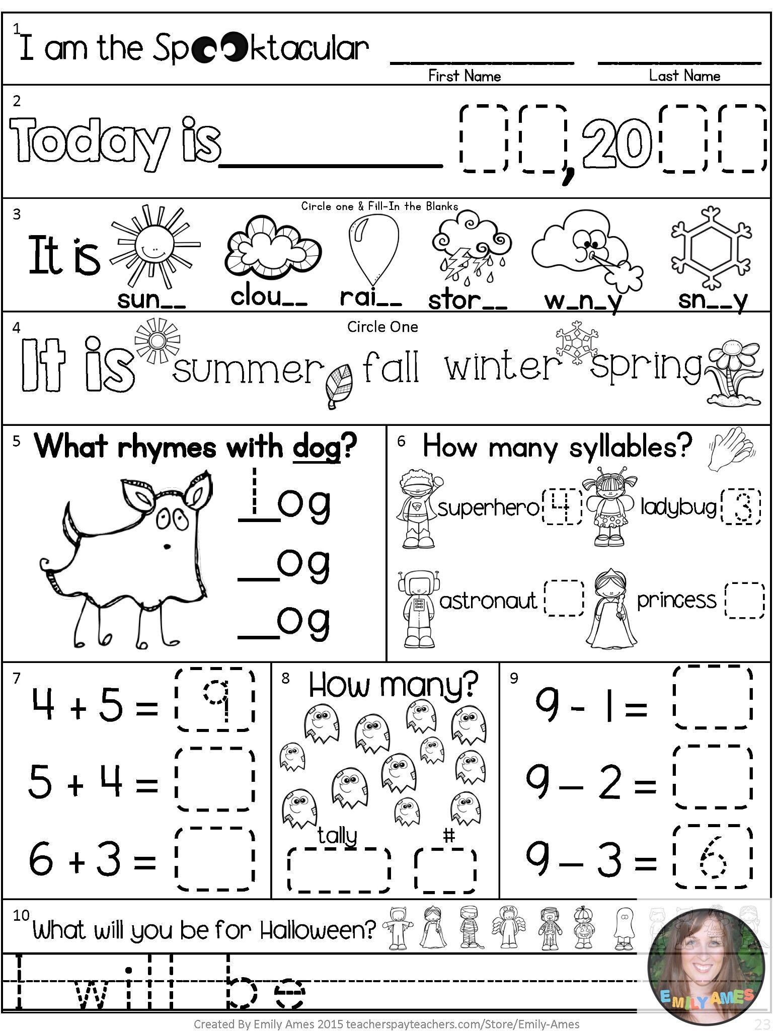1st Grade Morning Work Worksheets Morning Work October First Grade Packet