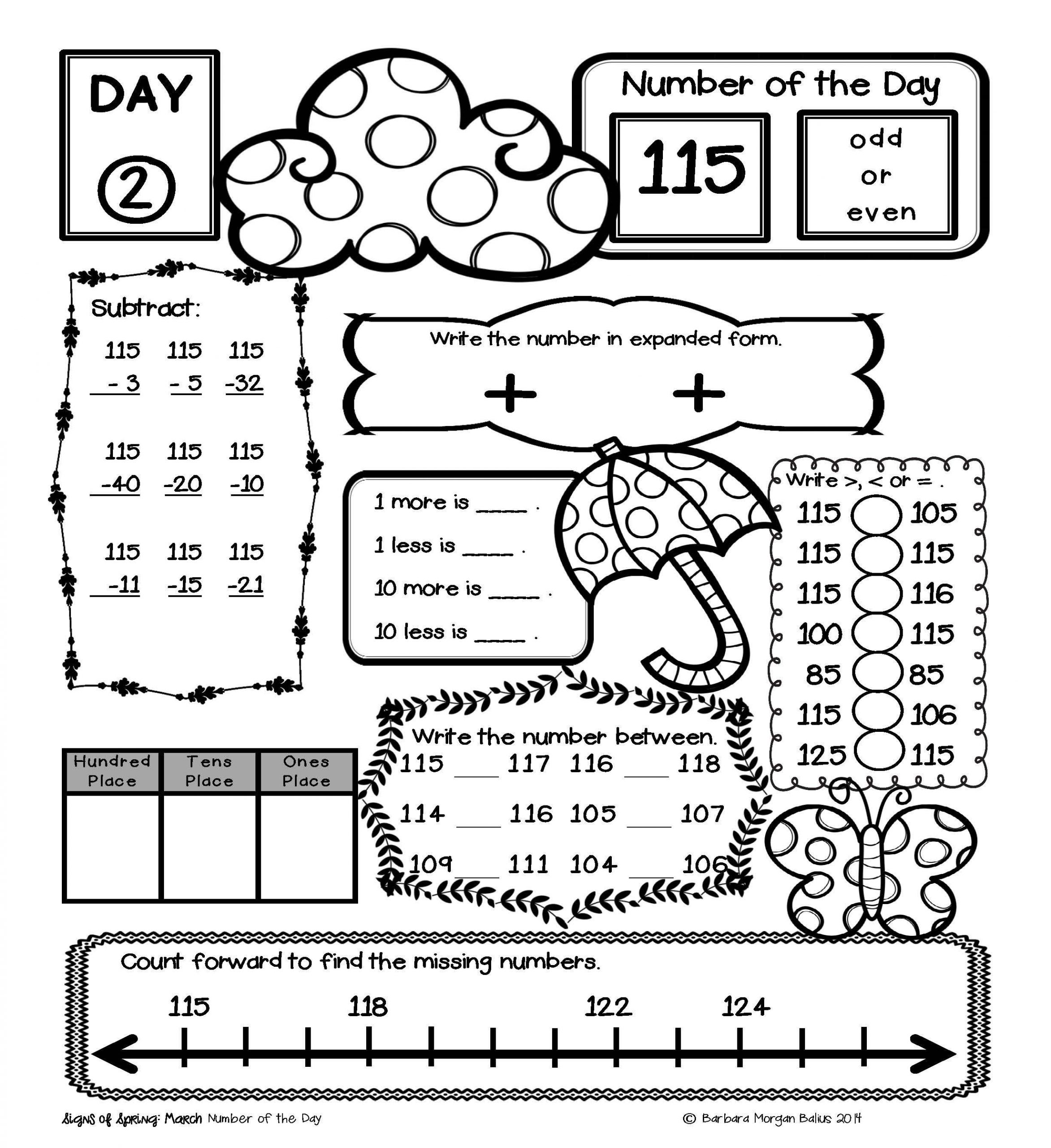 1st Grade Morning Work Worksheets Place Value Number Sense Practice the Morning Work 1st