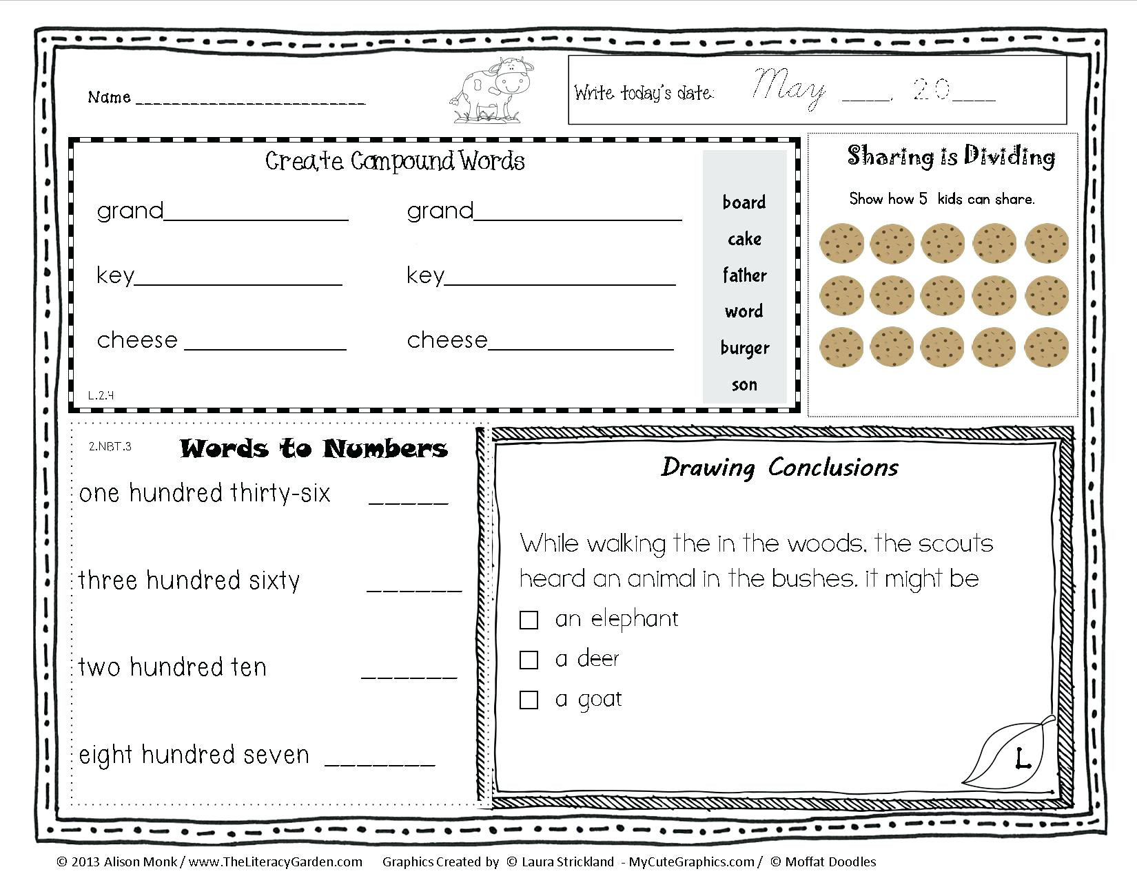 1st Grade Morning Work Worksheets Second Grade Morning Work – Timothyfregosoub
