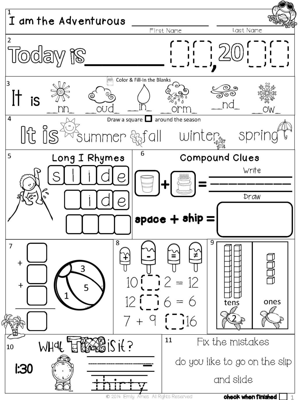 1st Grade Morning Work Worksheets Worksheet First Grade Worket Summer Packet Second Morning