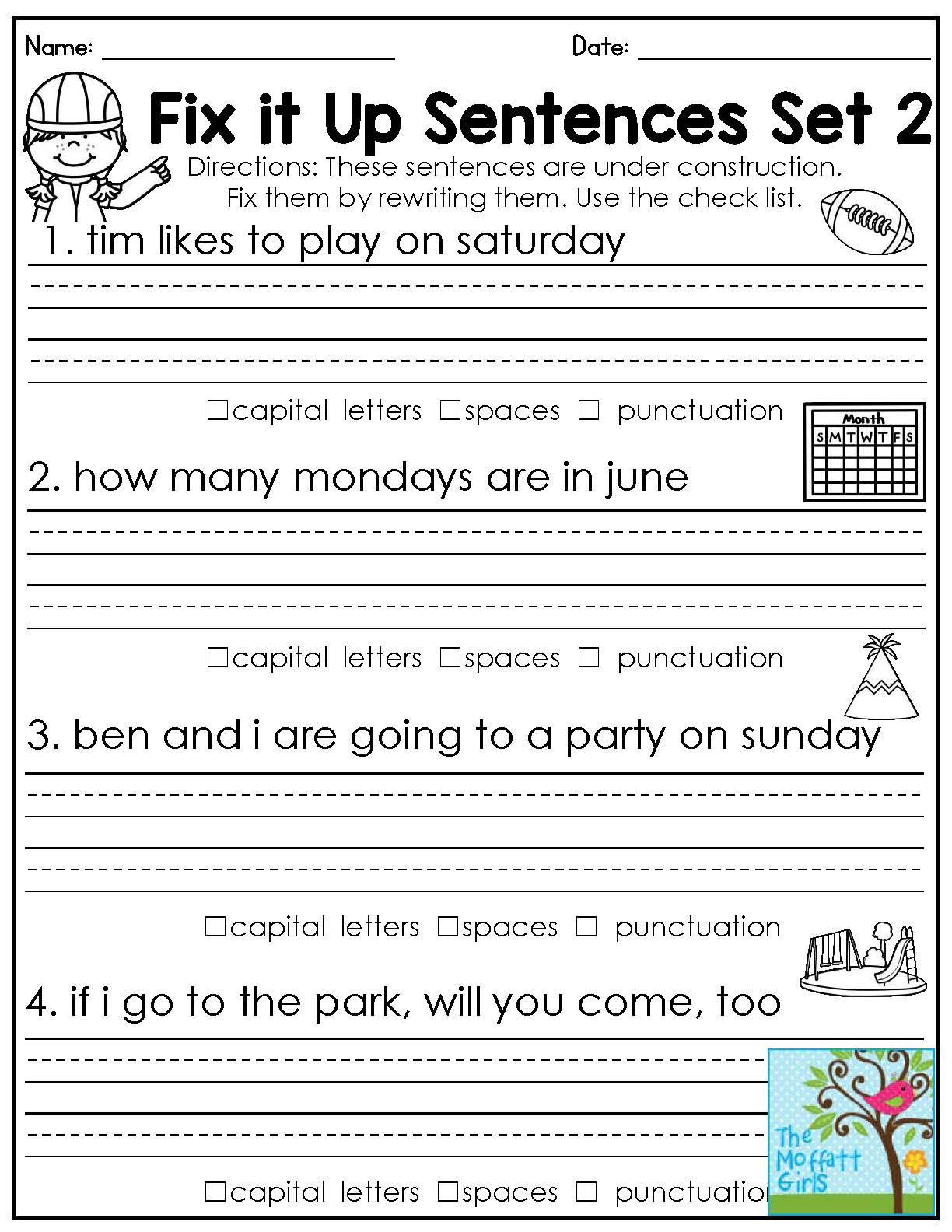 2nd Grade Editing Worksheets Mastering Grammar and Language Arts