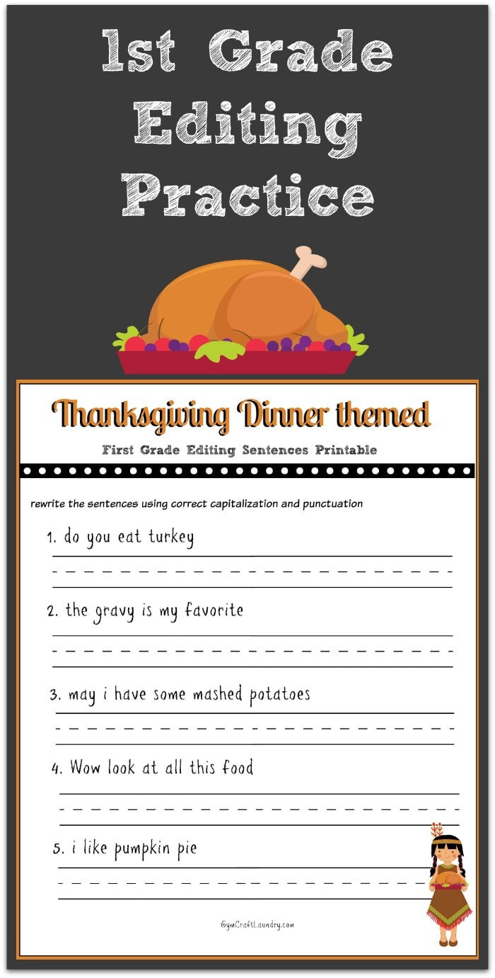 2nd Grade Editing Worksheets Thanksgiving 1st Grade Editing Printable Gym Craft Laundry