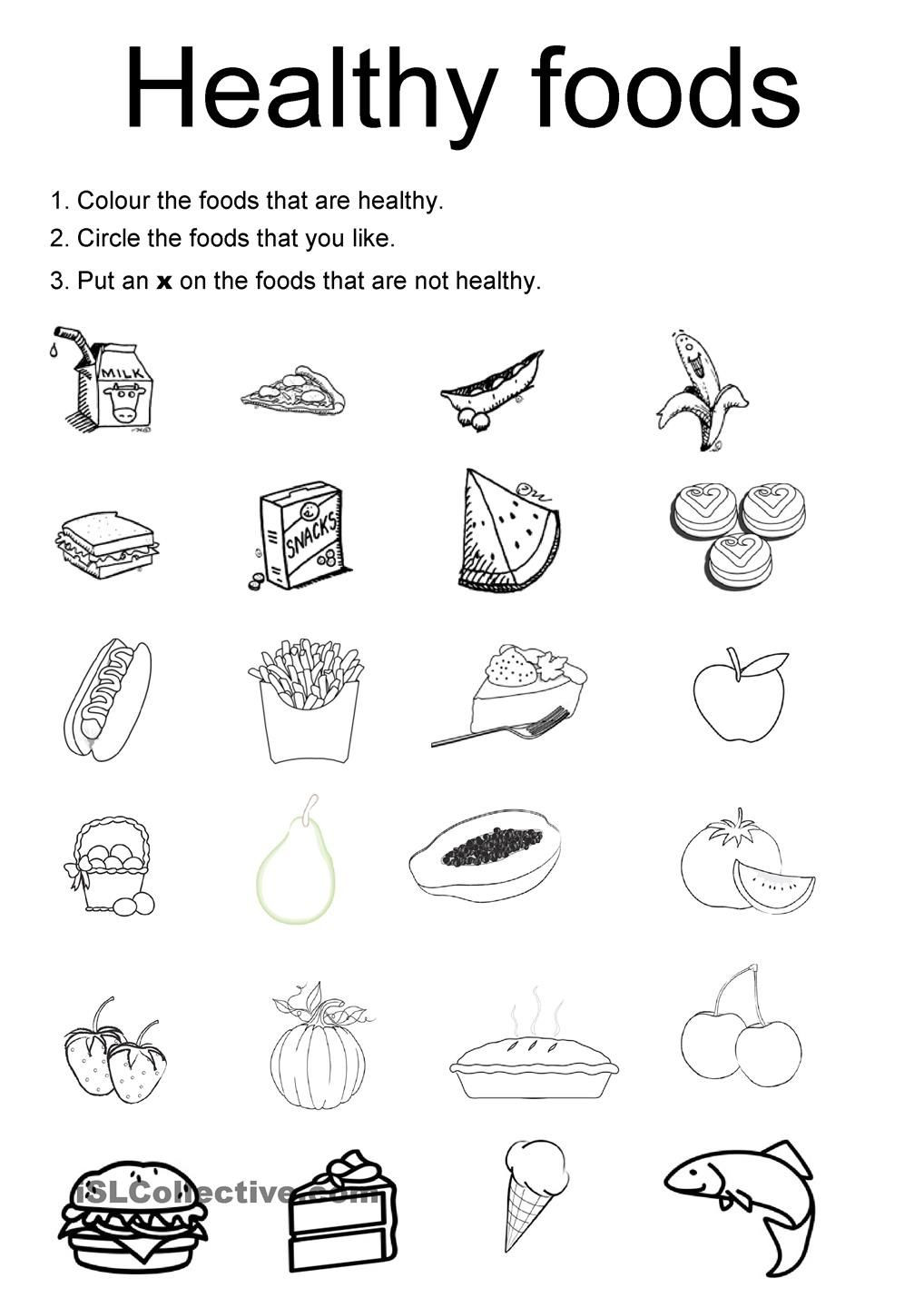 2nd Grade Health Worksheets Healthy Foods