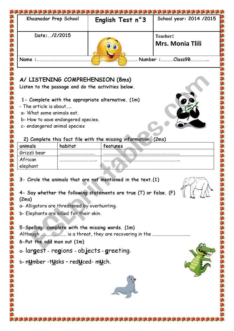 2nd Grade Health Worksheets Mid Term Test 2 Grade 9 Environment and Health Esl