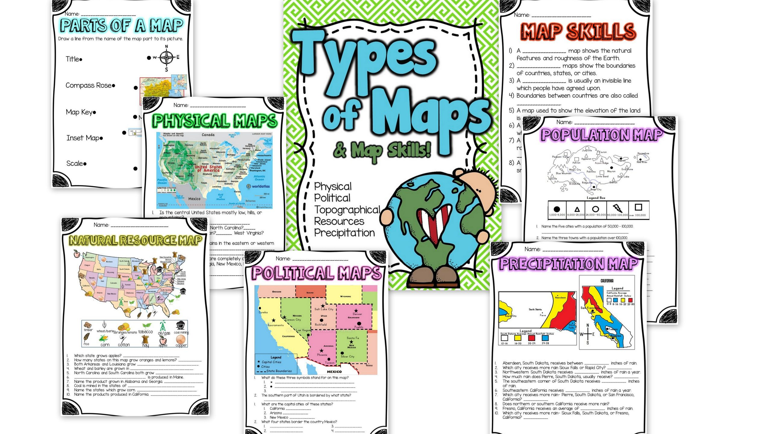 2nd Grade Map Skills Worksheets Different Types Maps Worksheets