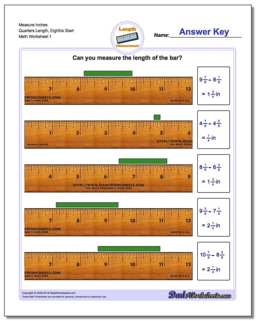 2nd Grade Measurement Worksheets Inches Measurement