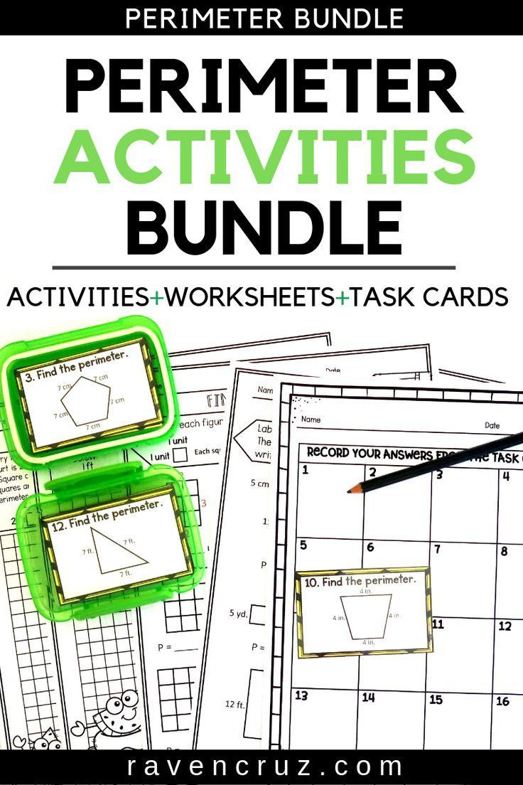 2nd Grade Perimeter Worksheets Perimeter Worksheets and Task Cards Summer themed On Best