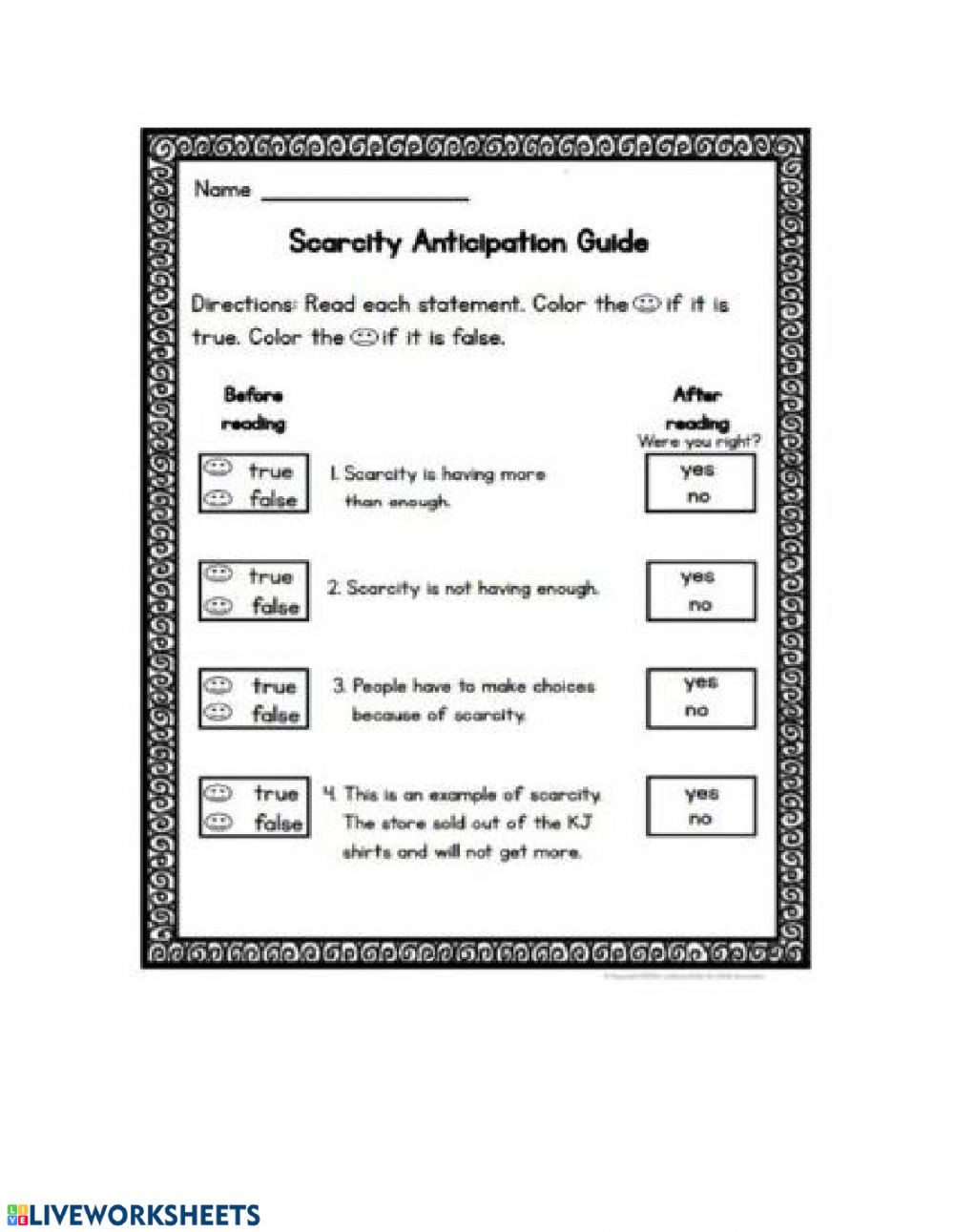 2nd Grade social Studies Worksheet Scarcity Interactive Worksheet