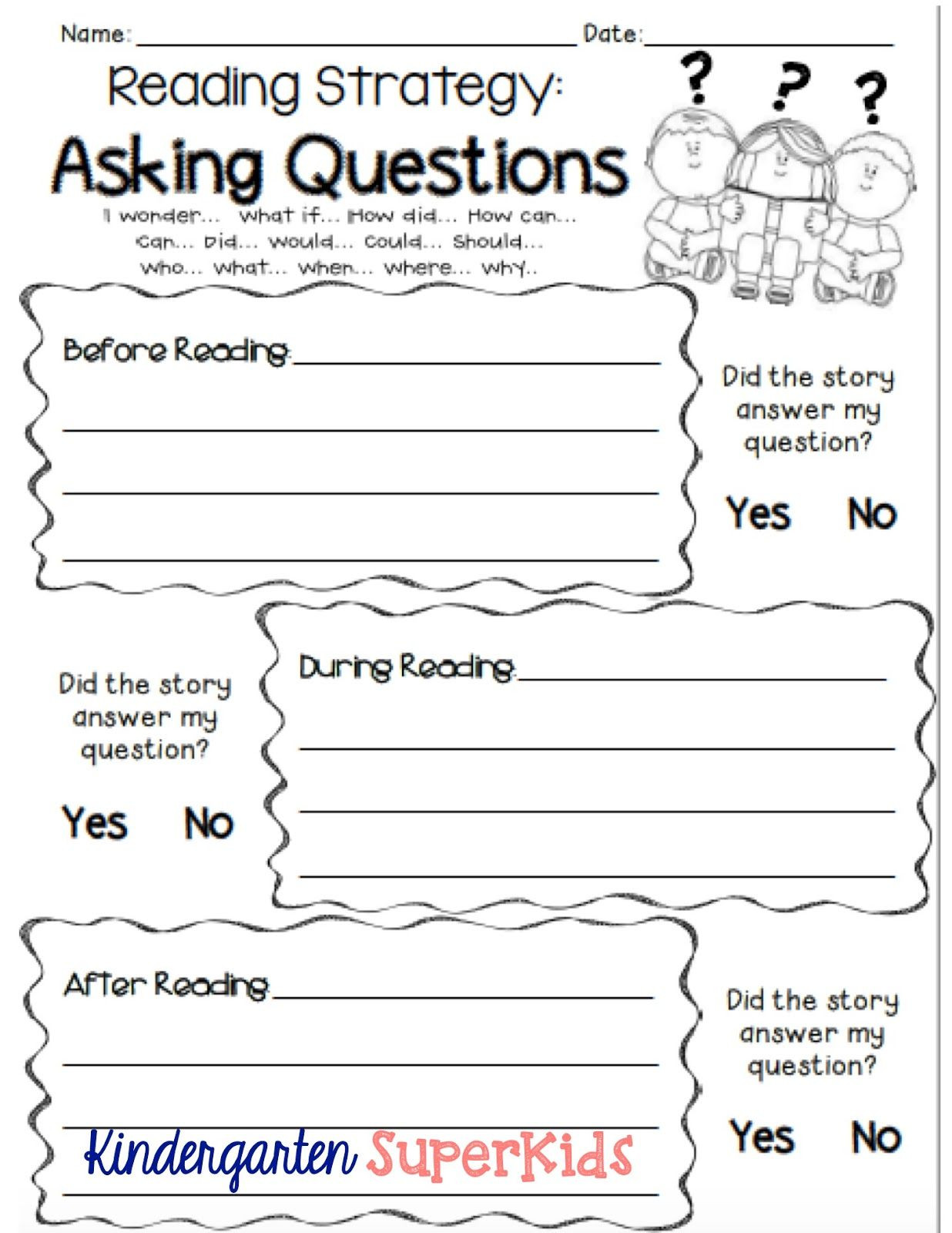 2nd Grade Timeline Worksheets asking Questions Reading Strategy Free Student Recording