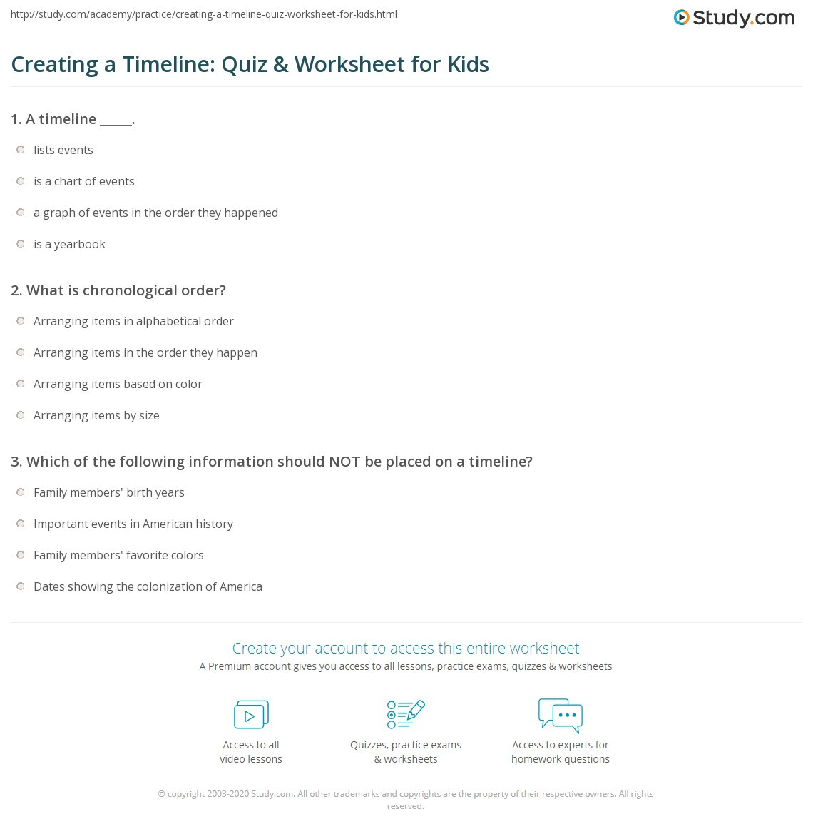 2nd Grade Timeline Worksheets Creating A Timeline Quiz & Worksheet for Kids