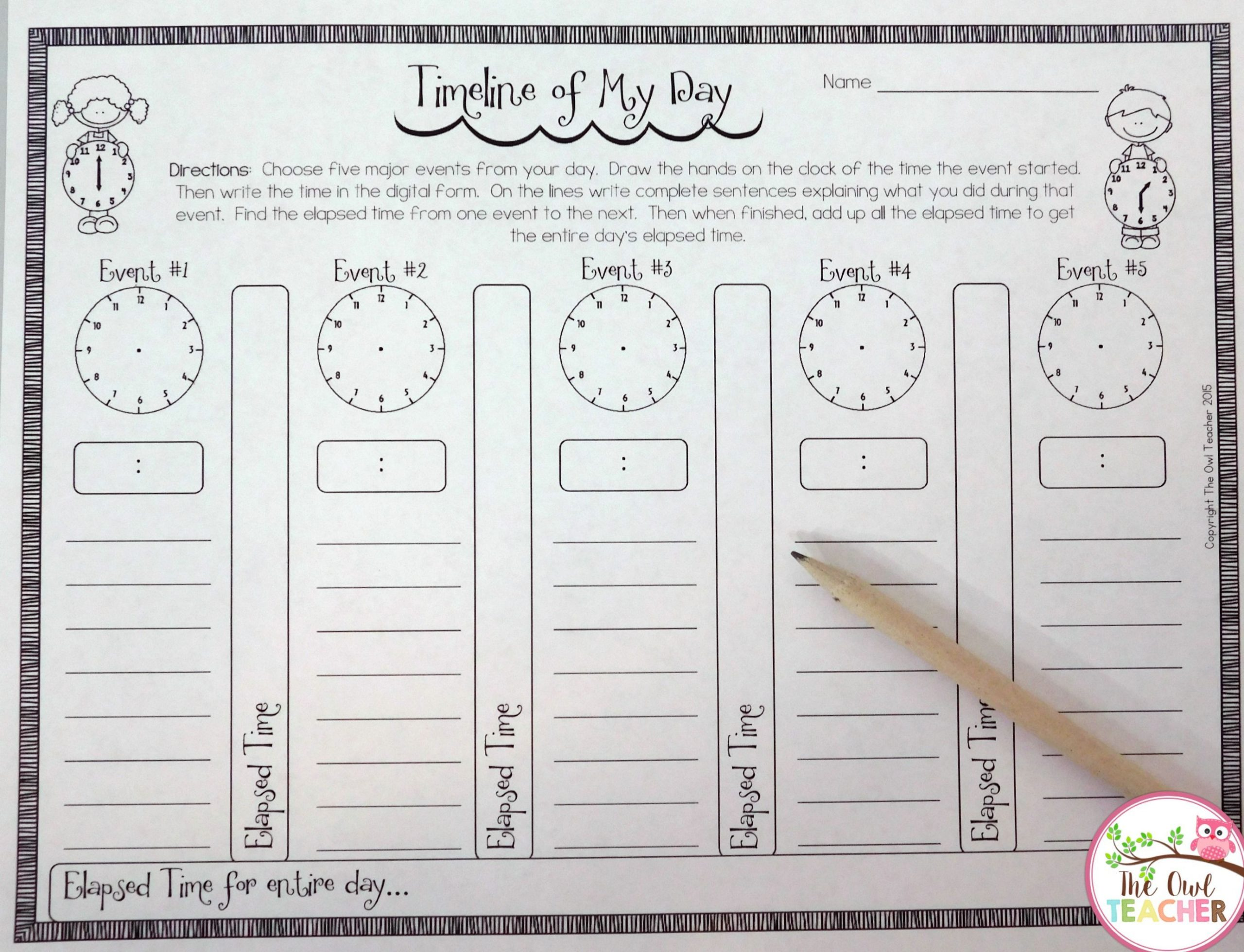 2nd Grade Timeline Worksheets Timeline Of My Day Freebie