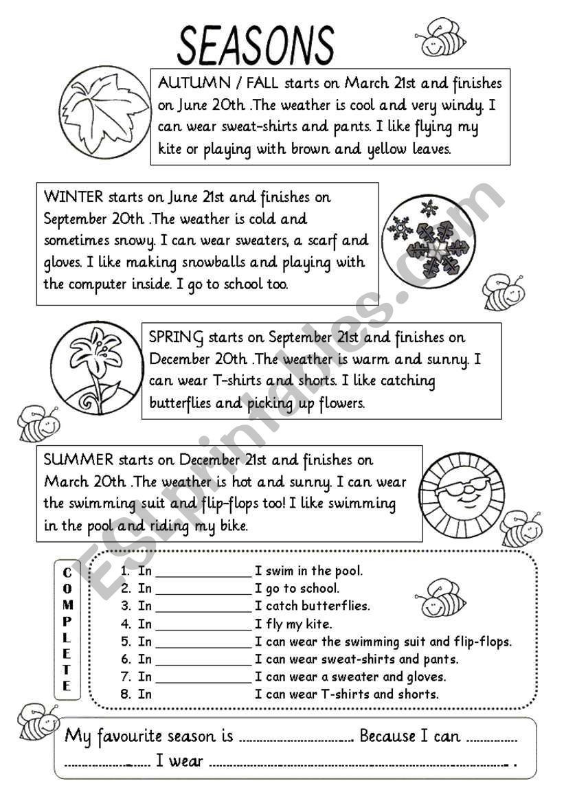 2nd Grade Weather Worksheets Seasons Worksheet 2nd Grade