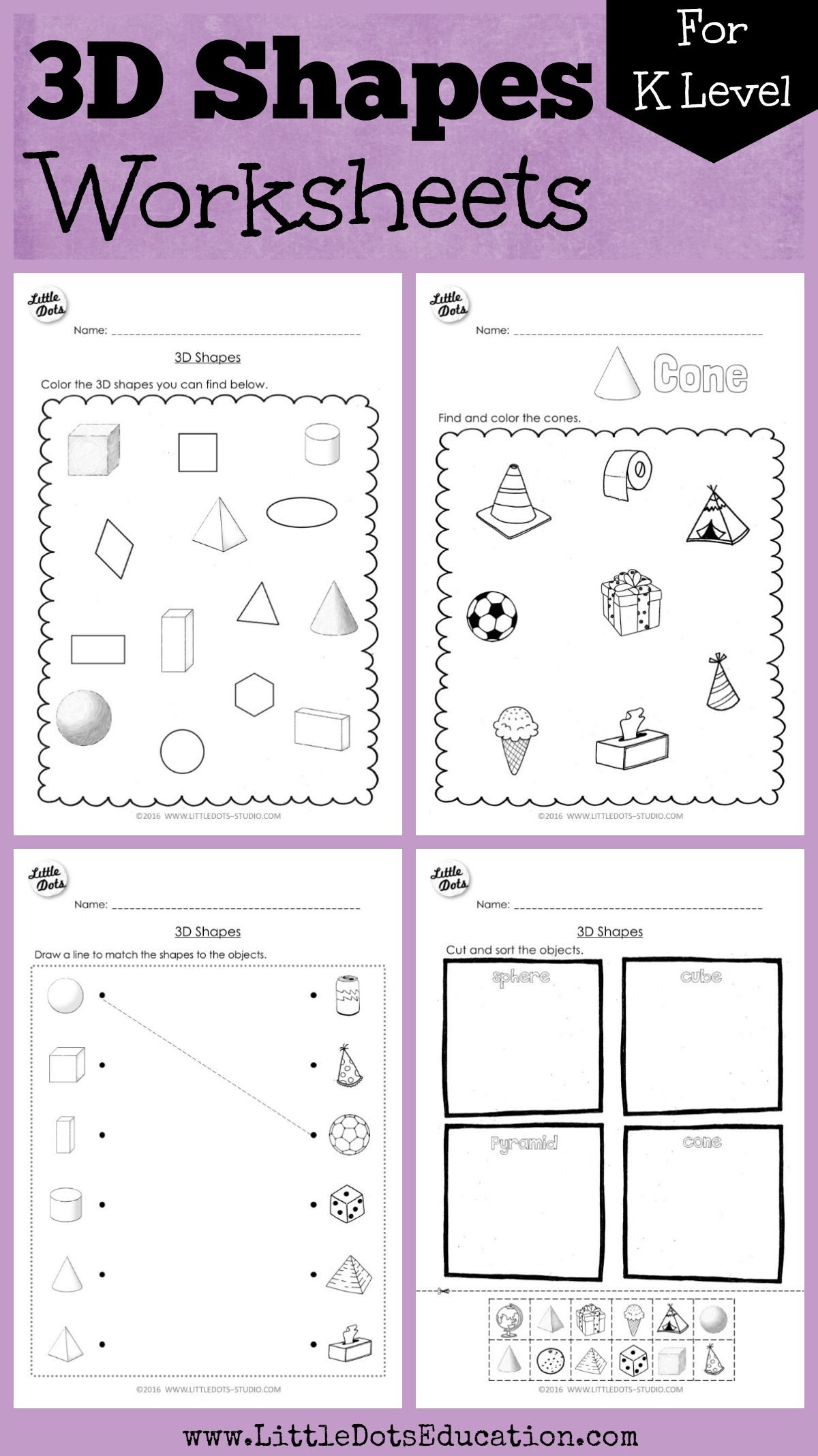 3d Shapes Worksheets 2nd Grade Kindergarten Math 3d Shapes Worksheets and Activities