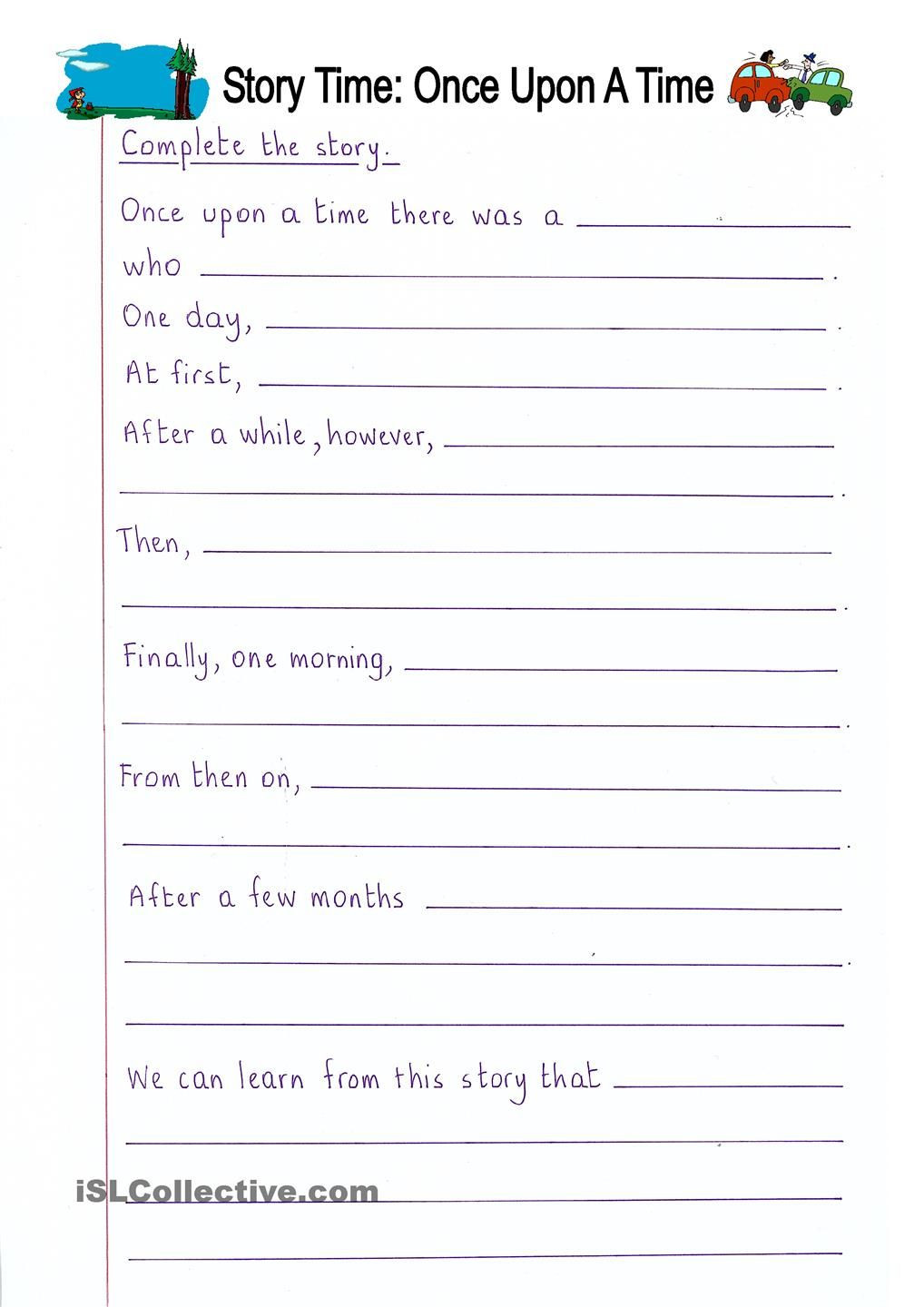 3rd Grade Essay Writing Worksheet Read and Plete Ce Upon Time Writing Year Creative