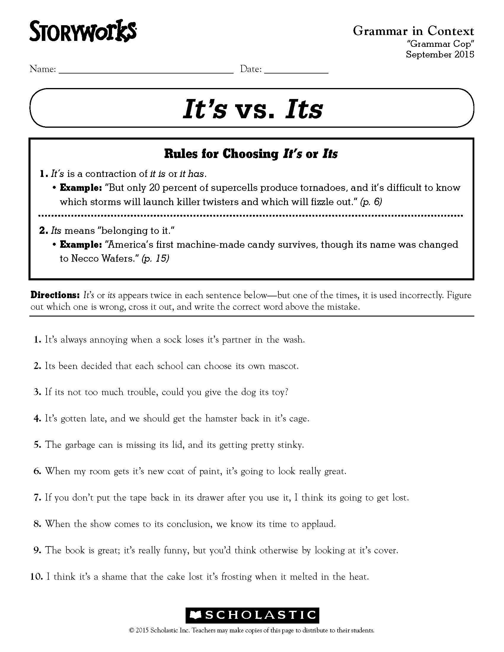 3rd Grade Grammar Worksheets 32 Third Grade Grammar Worksheet In 2020